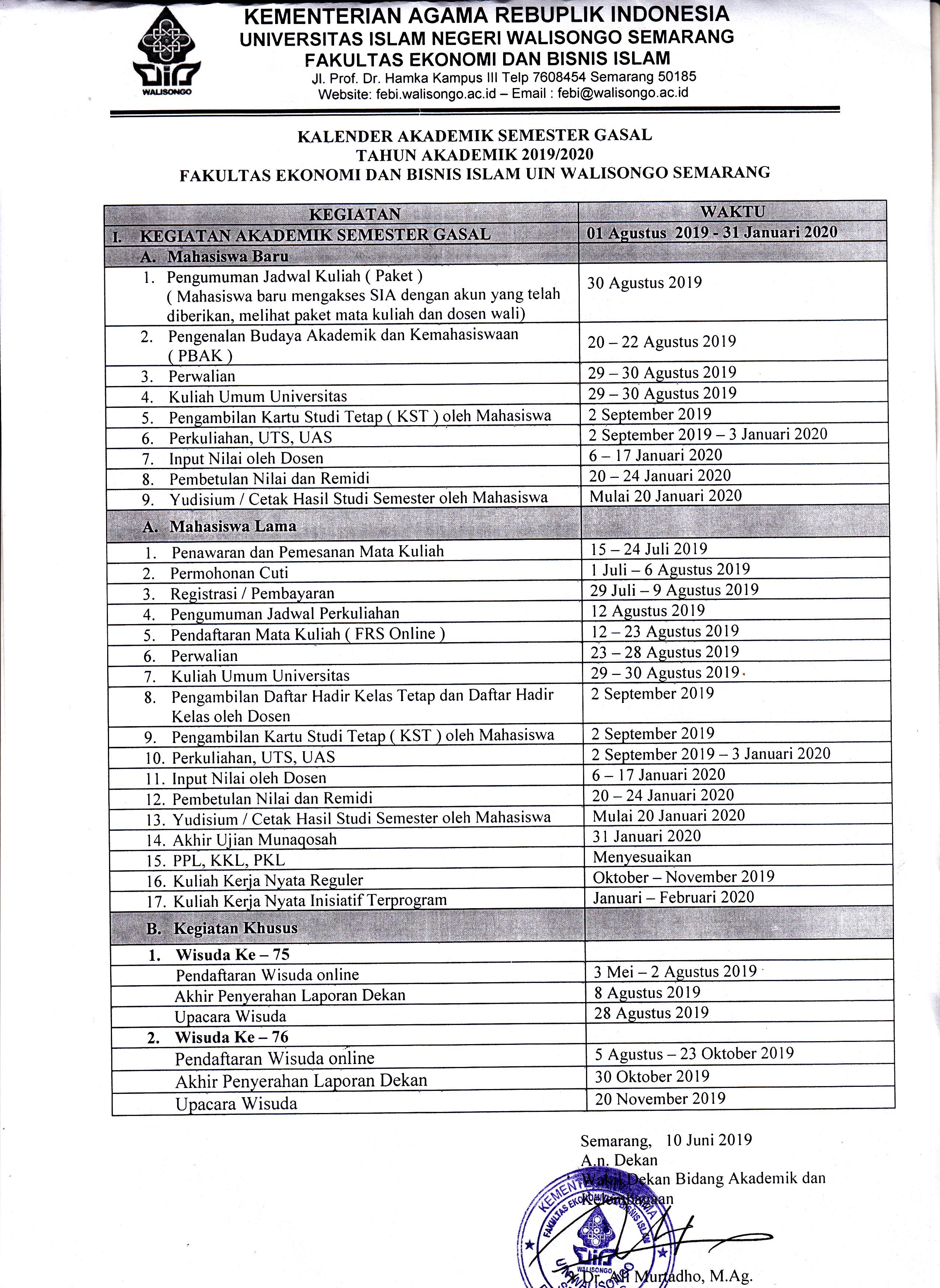 Kalender Akademik Semester Gasal T.A 2019/2020 FEBI UIN Walisongo Semarang