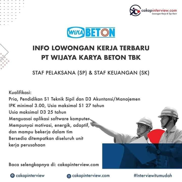 Lowongan Staff Keuangan PT. Wijaya Karya Beton