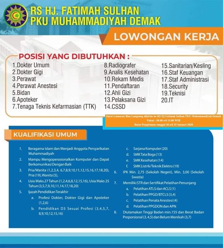 Lowongan Staff Keuangan PKU Muhammadiyah Demak