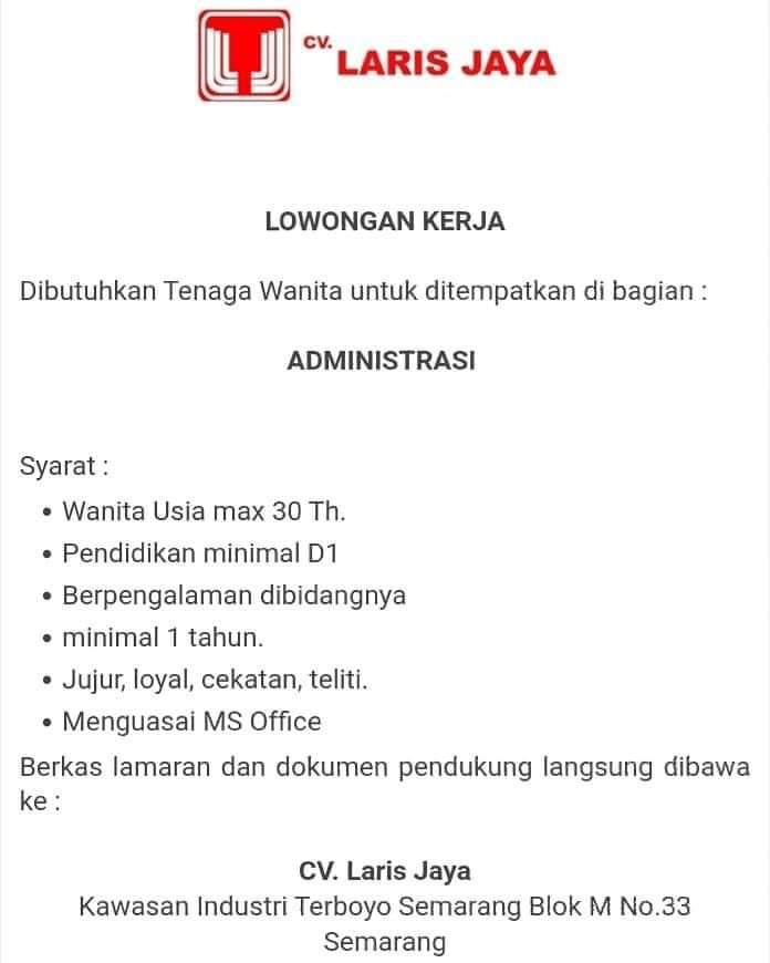 Loker akuntansi administrasi di cv laris jaya