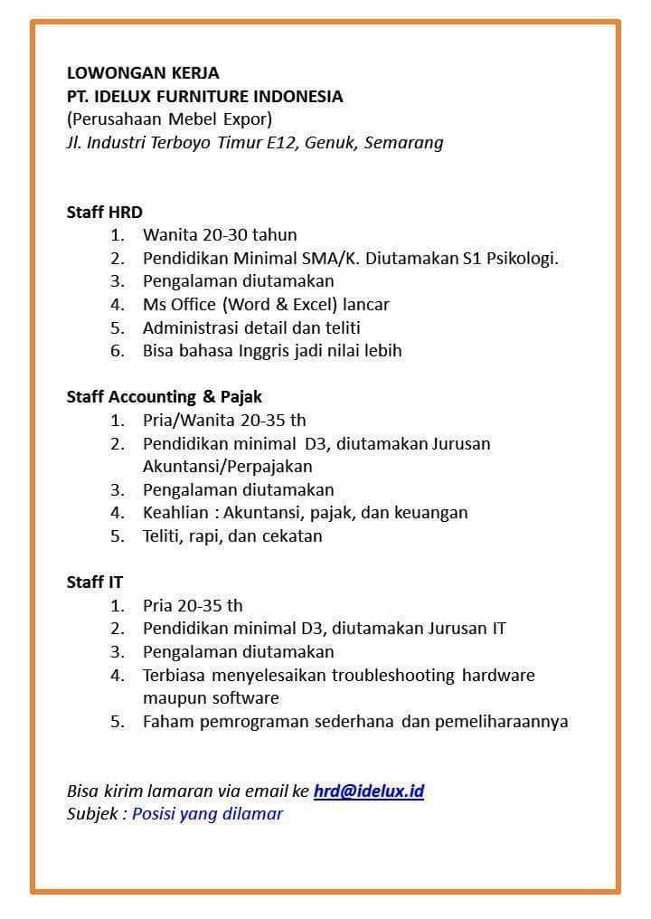 Loker akuntansi staff accounting and tax pt idelux
