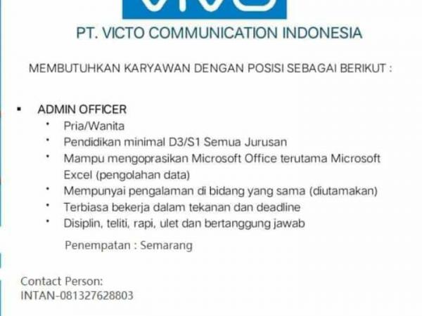 Karir Akuntansi - staff adm officer pt vidco