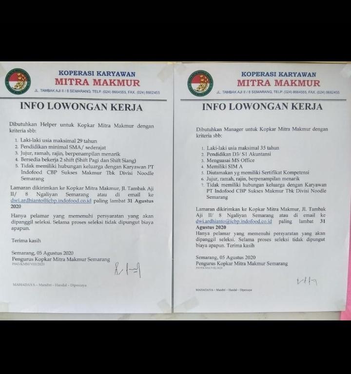 Karir Akuntansi - Kopkar Mitra Makmur Indofood