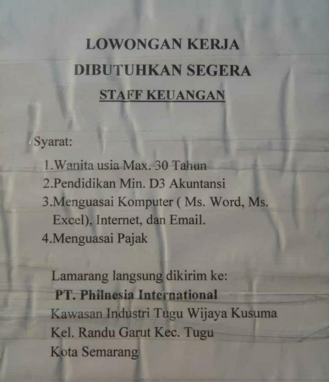 Karir Akuntansi - Staff Keuangan PT Philnesia