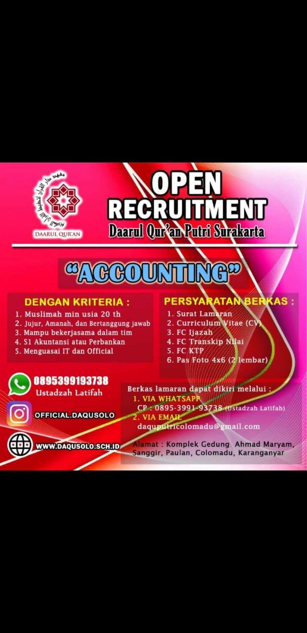Karir Akuntansi - Akuntan Daarul Quran Surakarta