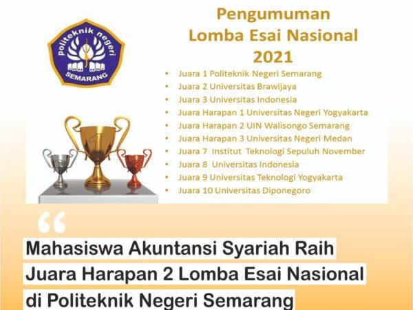 Mahasiswa Akuntansi Syariah FEBI UIN Walisongo Semarang Peroleh Juara Harapan 2 Lomba Esai Nasional 2021 di Politeknik Negeri Semarang