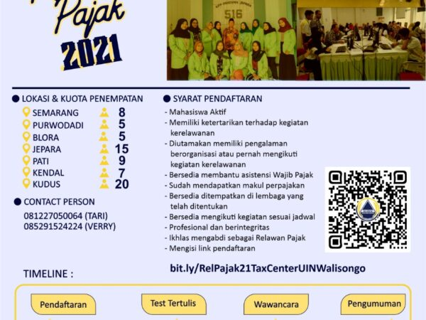 Tax Center FEBI UIN Walisongo Open Recruitment Relawan Pajak 2021