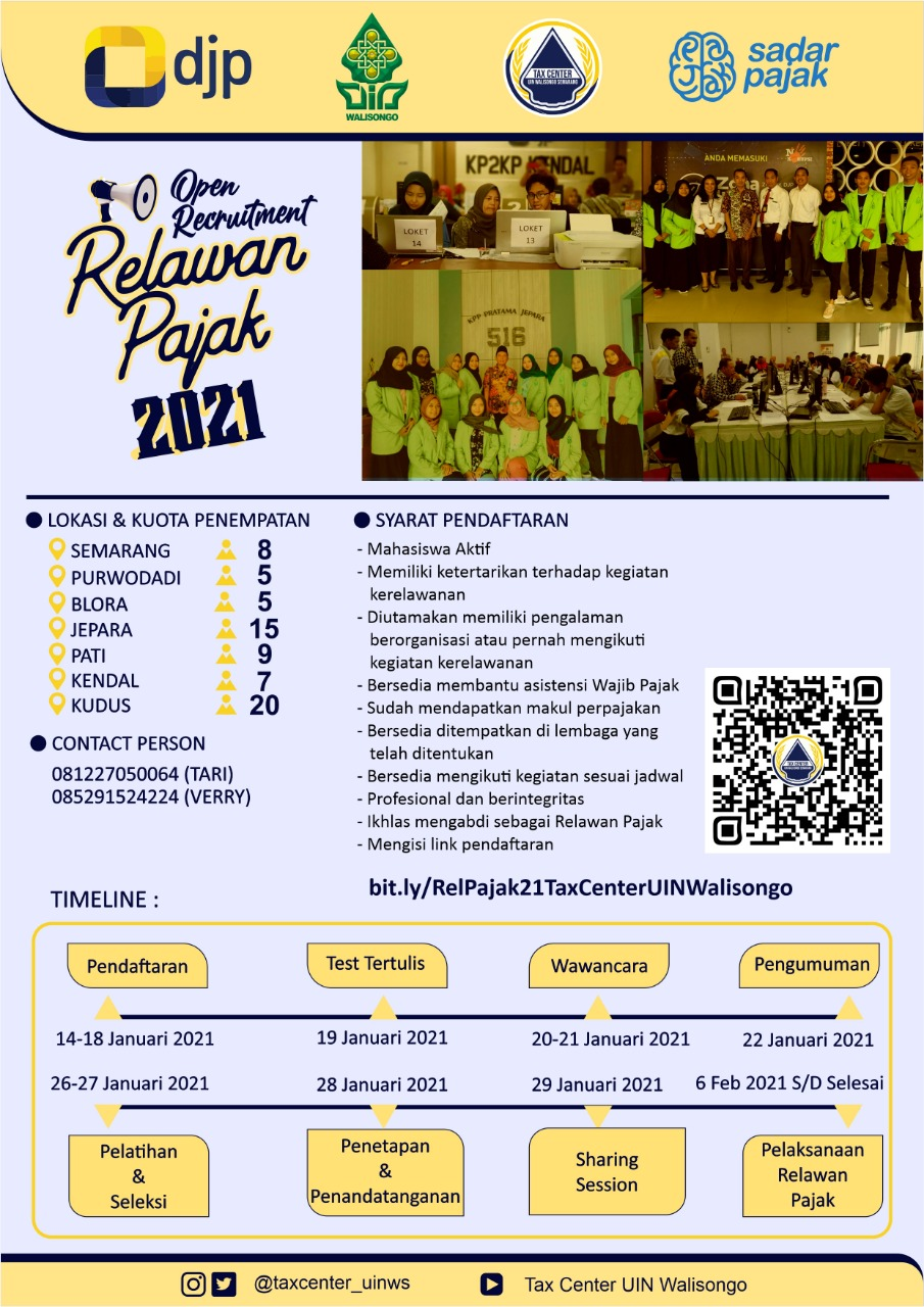 Tax Center FEBI UIN Walisongo Open Recruitment Relawan Pajak 2021
